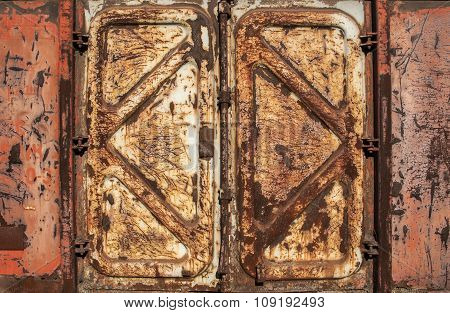 Rusty metal side of freight wagon