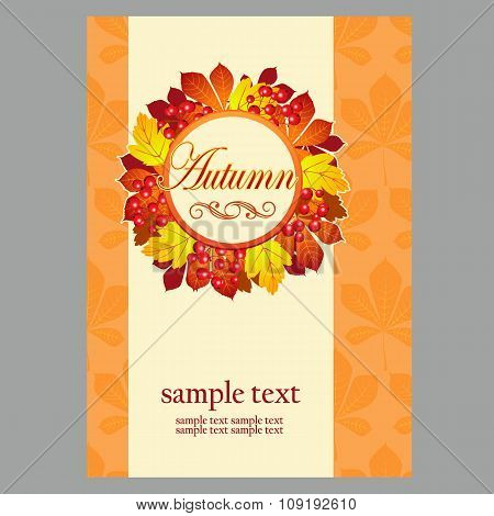 Poster in yellow colors with autumn leaves for your design needs