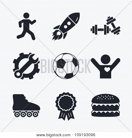 Football ball, Roller skates, Running icons.