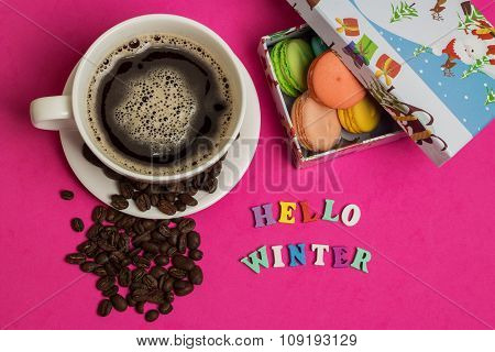 Tag Hello Winter, Cup Of Coffee With Macaroons