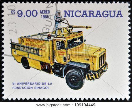 NICARAGUA - CIRCA 1985: stamp printed in Nicaragua shows firetruck circa 1985.