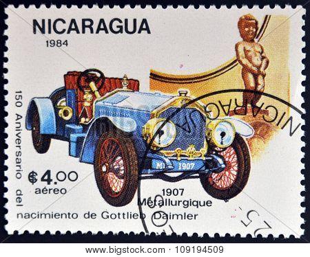 NICARAGUA - CIRCA 1984: A stamp printed in Nicaragua shows vintage car circa 1984