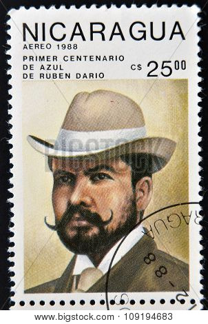 NICARAGUA - CIRCA 1988: A stamp printed in Nicaragua shows the Nicaraguan poet Ruben Dario