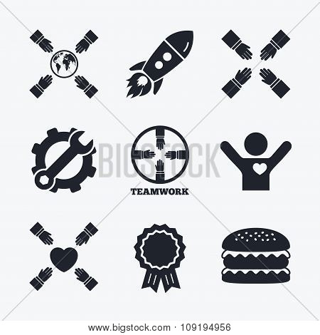 Teamwork icons. Helping Hands symbols.