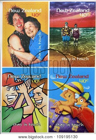 NEW ZEALAND- CIRCA 1998: stamps printed in New Zealand dedicated to stay in touch circa 1998