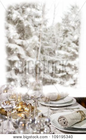 Christmas Dinner In Front Of Winter Forest