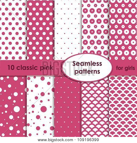 Set Of Classic Pink Seamless Patterns With Dots