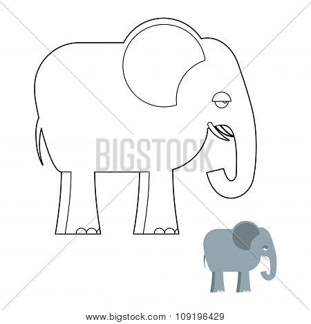 Elephant Coloring Book. Big Animal Of Jungle With Long Trunk. African Wild Beast.