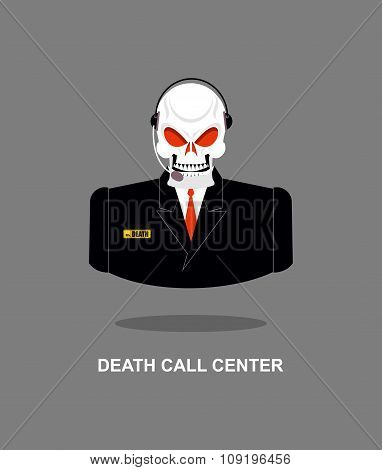 Death Call Center. Skull With  Headset. Skeleton In Suit Responds To Phone Calls. Office Skeleton Mi
