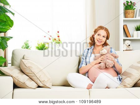 Happy Pregnant Woman Relaxing At Home With Toy Teddy Bear