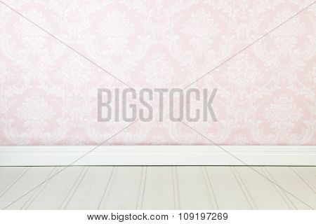Vintage interior with pink wallpaper