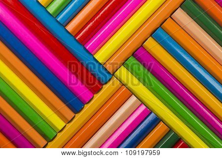 Abstract Composition Of A Set Wooden Colour Pencils.