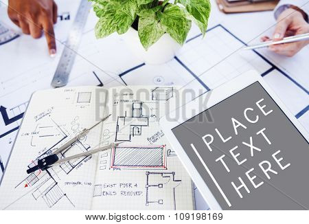 People Corporate Architect Engineer Blueprint Construction Concept