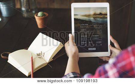 Woman Holding Tablet Flight Booking Search Concept