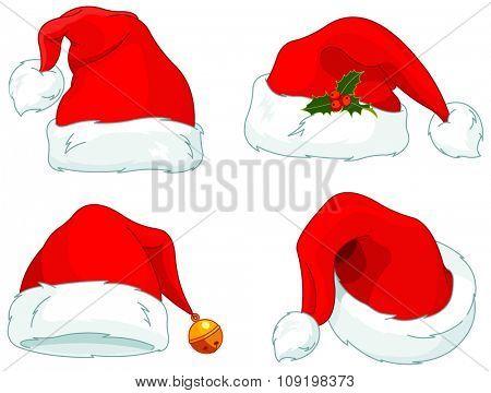 Illustration of Santa Claus hats