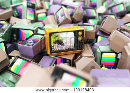Choice of best channel concept. Heap of vintage tv.  Conceptual background. 3d
