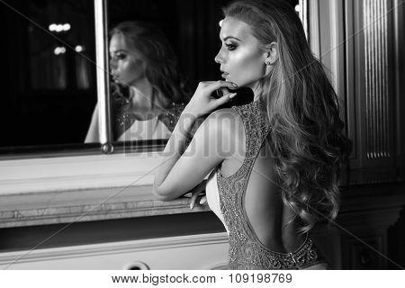 Beautiful Woman In Elegant Dress.