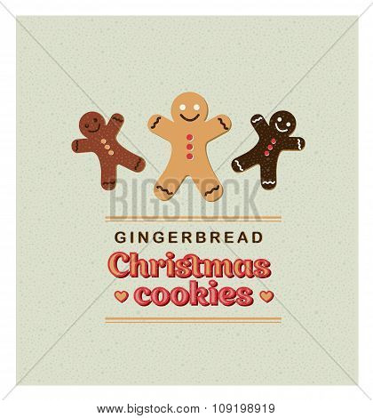 Vector Illustration vintage retro Greeting card with Gingerbread Cookies.