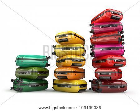 Heap of baggage.Travel or tourism development concept. Grouth of amount of transportations. 3d