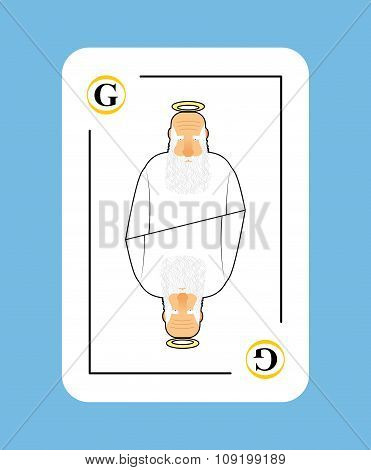 God Playing Card. Creator In White Clothes. New Concept Of Playing Card. Brings Life And Saves Play