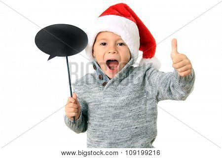 Five year old boy wearing a Santa hat with thumbs up and a speech bubble. Add your own text.