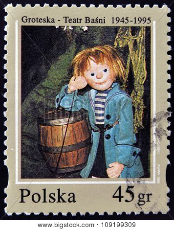 A stamp printed in Poland dedicated to 50th anniversary of the fairy tale theatre