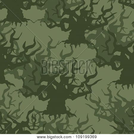 Military Camouflage Background Of Old Trees. Protective Seamless Pattern. Army Structure For Soldier