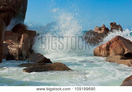 Sunlit Sea Foam Magnificent Seychelles