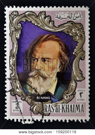 RAS AL-KHAIMAH - CIRCA 1970: a stamp printed in the Ras al-Khaimah shows Johannes Brahms circa 1970