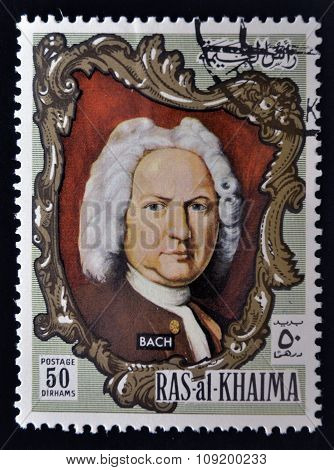 RAS AL-KHAIMAH - CIRCA 1970: a stamp printed in the Ras al-Khaimah shows Johann Sebastian Bach