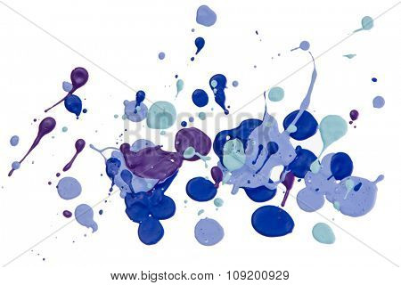 Bright drops of paint isolated on the white background