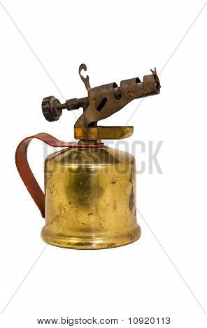 Antique Oil Torch Isolated On White