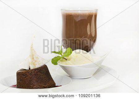 poppy seed dessert with ice cream