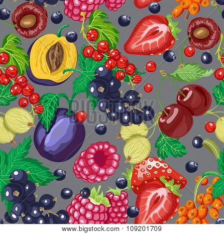 Seamless Pattern With Garden Berries On A Gray Background