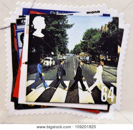 stamp printed in Great Britain showing an image of The Beatles Abbey Road album cover