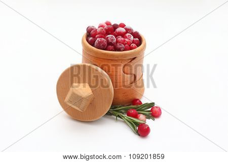 Birch-bark box with cranberries