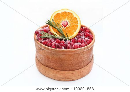 Birch-bark box with cranberries  and orange