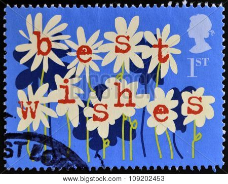 UNITED KINGDOM - CIRCA 2002: A stamp printed in Great Britain shows Flowers best wishes circa 2002