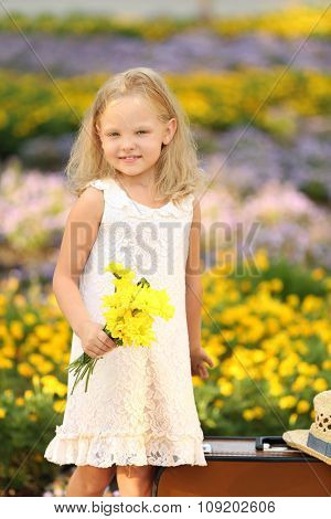 Happy girl walking in park