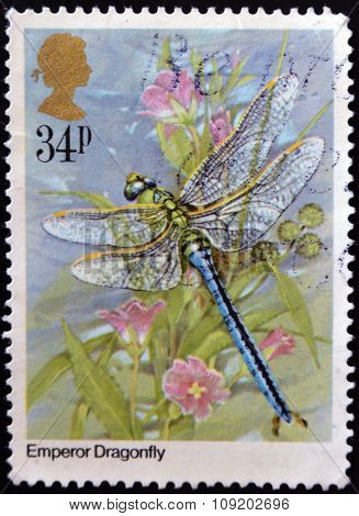 UNITED KINGDOM - CIRCA 1985: A Stamp printed in Great Britain shows Emperor Dragonfly circa 1985