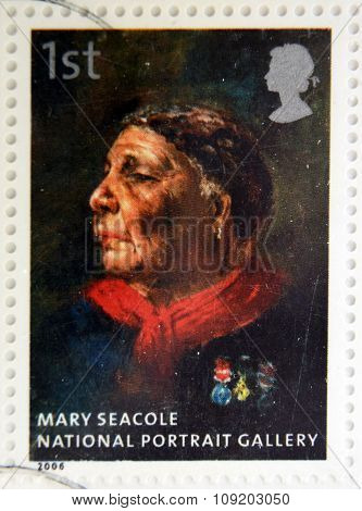stamp printed in Great Britain dedicated to the national portrait gallery shows Mary Seacole