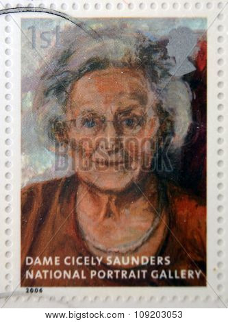 stamp printed in Great Britain dedicated to the national portrait gallery shows Dame Cicely Saunder
