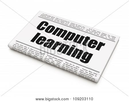 Studying concept: newspaper headline Computer Learning