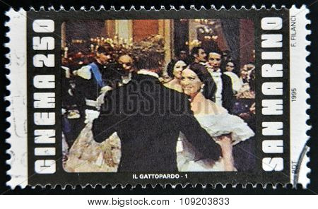 SAN MARINO - CIRCA 1995: A stamp printed in San Marino shows scene from the movie The Leopard