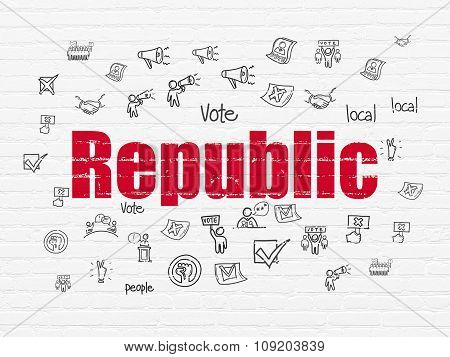 Politics concept: Republic on wall background