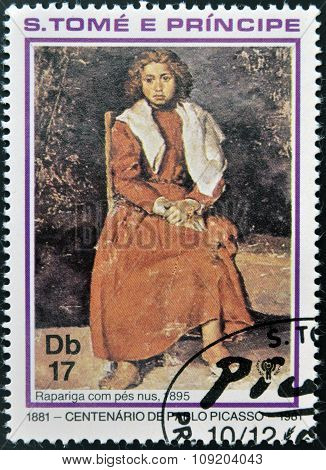 A stamp printed in sao Tome shows The barefoot girl by Pablo Picasso
