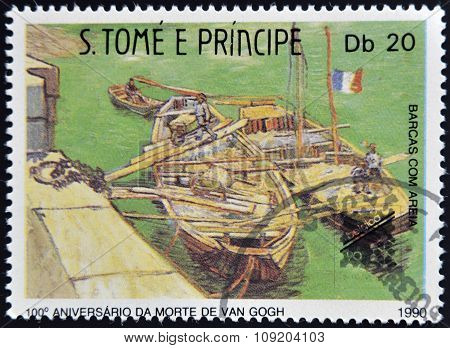 A stamp printed in Sao Tome shows Boats with sand by Vincent Van Gogh