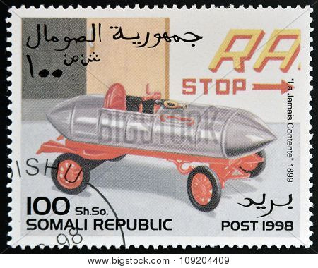 SOMALIA - CIRCA 1998: stamp printed in Somali republic shows retro car La Jamais Contente 1899