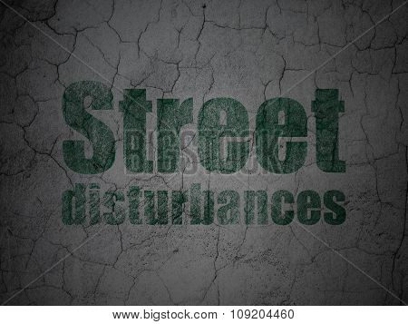 Political concept: Street Disturbances on grunge wall background