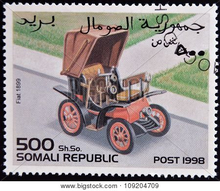 SOMALIA - CIRCA 1998: stamp printed in Somali republic shows retro car Fiat 1899 circa 1998.